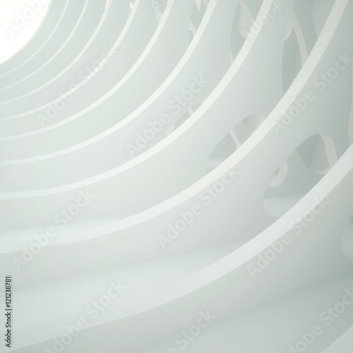 3d illustration. White three-dimensional composition based on a repetitive waveform extruded with oval holes, Light in the end. Architectural background, render. © struvictory