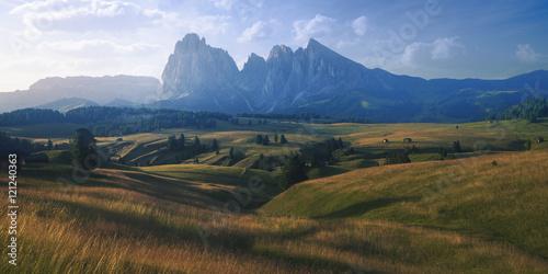Fototapeta Beautiful meadow and mountain scene of Val Gardena, Italy obraz na płótnie