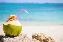 Coconut Cocktai On A Tropical Beach