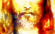 Detail Of Jesus Face, Abstract Colorful Collage.