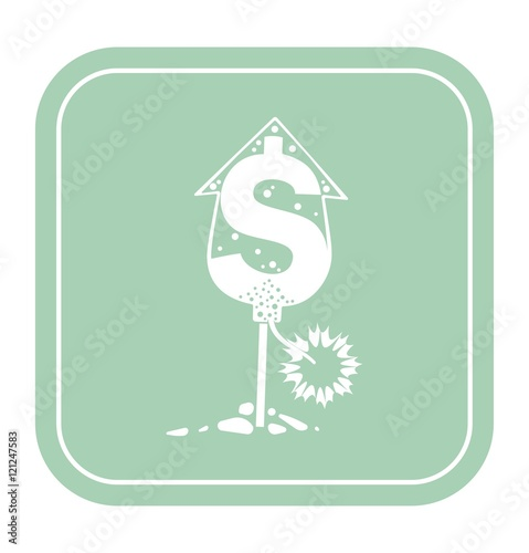 Fotografija  dollar icon like rocket petard on mint background vector illustration