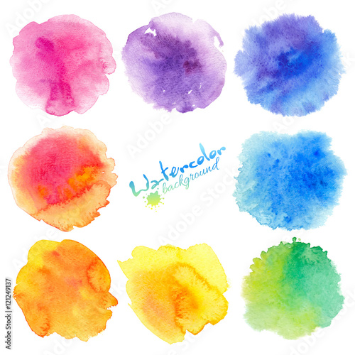Poster Vormen Rainbow colors watercolor paint stains vector backgrounds set