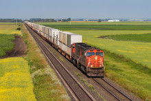 Container Train Across Green A...