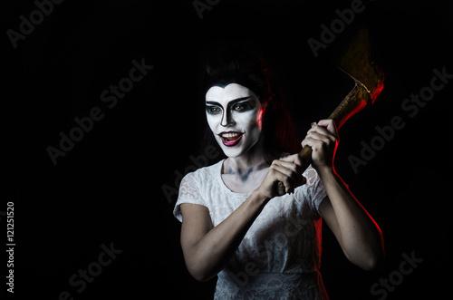 Canvas Print Portrait Halloween dead face girl and ax