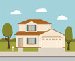 The flat picture with the image of the house with the garage and trees standing at the road.suburban house.country house. country cottage