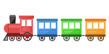 Colorful Toy Train On White Ba...