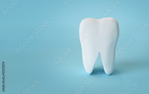 Fotografie, Obraz  White Teeth on Blue Background