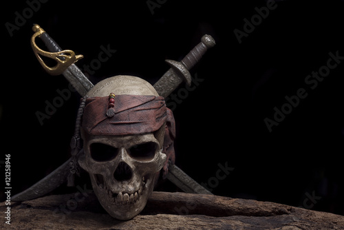 Fotografie, Obraz  pirate skull with two swords