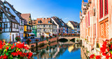 Fototapeta Miasto - Beautiful view of colorful romantic city Colmar, France, Alsace