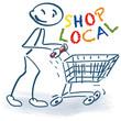 Strichmännchen mit Einkaufswagen und kaufe in deiner Stadt