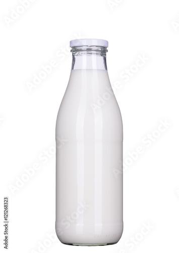 Fotografie, Obraz  Flasche Milch isoliert mit Beschneidungspfad, clipping path