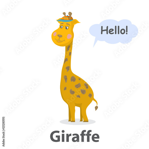 Giraffe vector illustration Cute cartoon Giraffe wild mammal