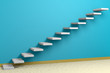 Ascending stairs of rising staircase in blue empty room with bei