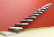 Ascending stairs of rising staircase in red empty room with beig
