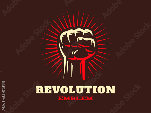 Valokuvatapetti Revolution hend up emblem illustration on dark background