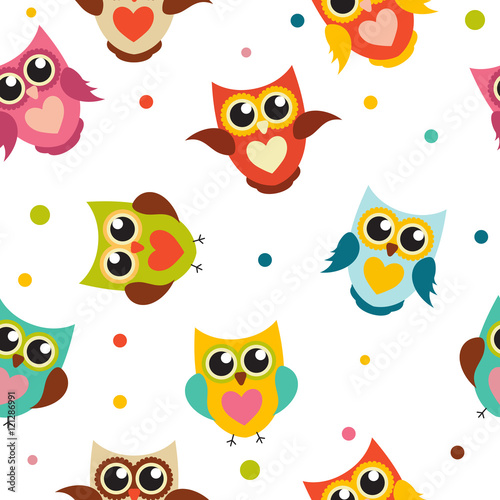 fototapeta na ścianę Cute Owl Seamless Pattern Background Vector Illustration