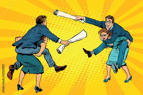 Business people office battle, men riding women