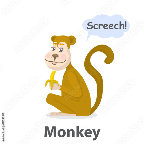 Monkey vector illustration Cartoon cute primate with banana