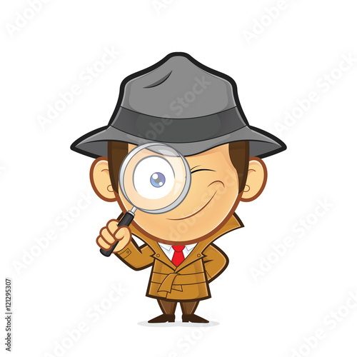 Fotografie, Tablou  Detective holding a magnifying glass