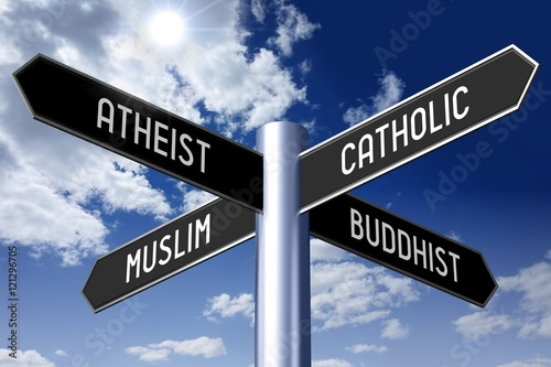 Signpost with four arrows - religion concept (Atheist, Catholic, Muslim, Buddhist) Canvas Print
