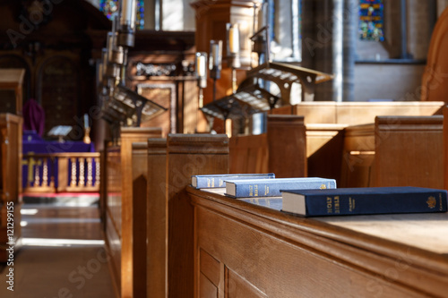 Photo Bible and other books in church