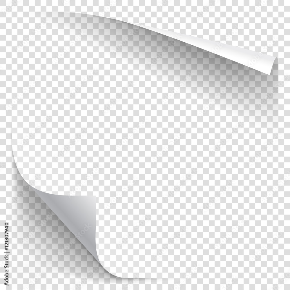 Fototapeta White gradient paper curl with shadow isolated on transparent background. Vector sticker paper note for memo and notice. Vector template illustration for your design
