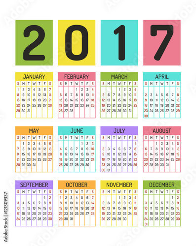 color block calendar template for 2017 year