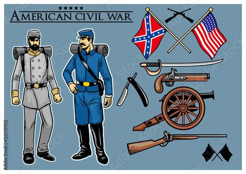 Fototapeta american civil war vector set