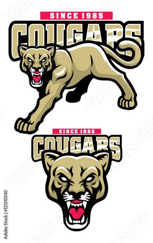 Naklejka premium maskotka Cougar