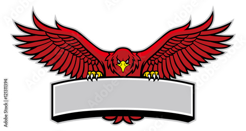 Photo  eagle mascot grip the sign