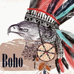 Panel Szklany Boho Vector tribal design in boho style. Headdress with feathers