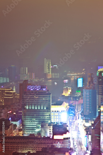 Photo  Aerial photography at City modern landmark buildings of night