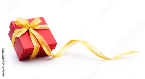 Photo  Gift box with ribbon isolated on white