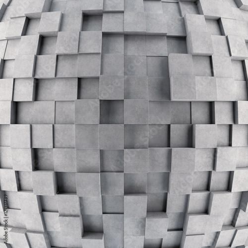 Wypukła betonowa 3d sześcian ściana. Renderowanie 3D