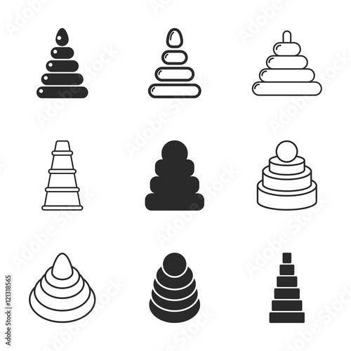Fototapety, obrazy: Pyramid toy vector icons.