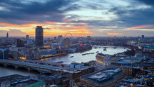 Skyline View Of Central London With Famous Landmarks, River Thames And Skyscrapers At Sunset - London, UK