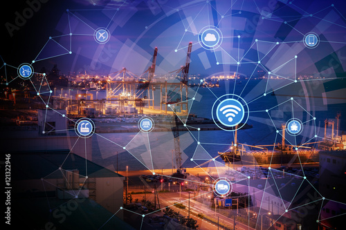 smart factory and wireless communication network, Internet of Things, Industry4 Canvas Print