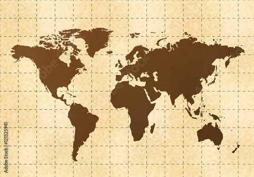 Foto op Canvas Wereldkaart Retro world map on old paper with texture