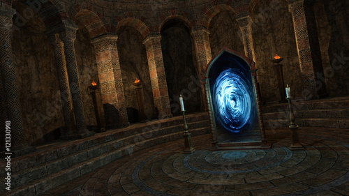 Underground temple with portal Wallpaper Mural