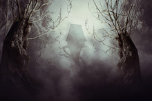 Spooky Witch House In Mist