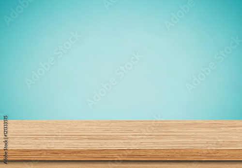 Fototapeta Wood table top on blue background, Use as product display montage - Vector obraz