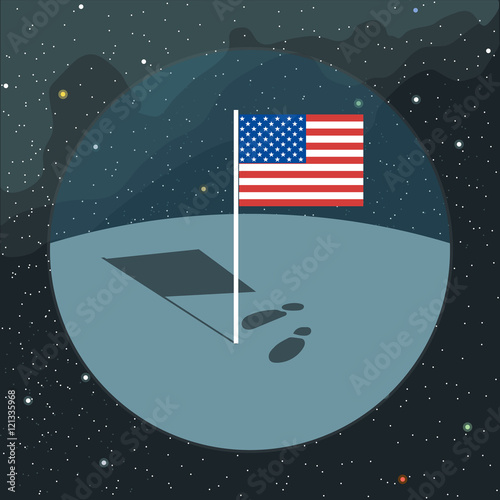 Photo Digital vector with american usa flag icon, planet, shadow and foot steps, over