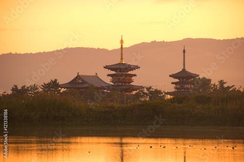 Foto op Plexiglas Zwavel geel 朝の薬師寺