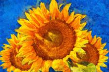 Sunflowers.Van Gogh Style Imitation. Digital Imitation Of Post Impressionism Oil Painting.