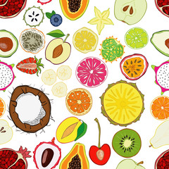 Panel Szklany Owoce Seamless pattern with exotic fresh fruits.