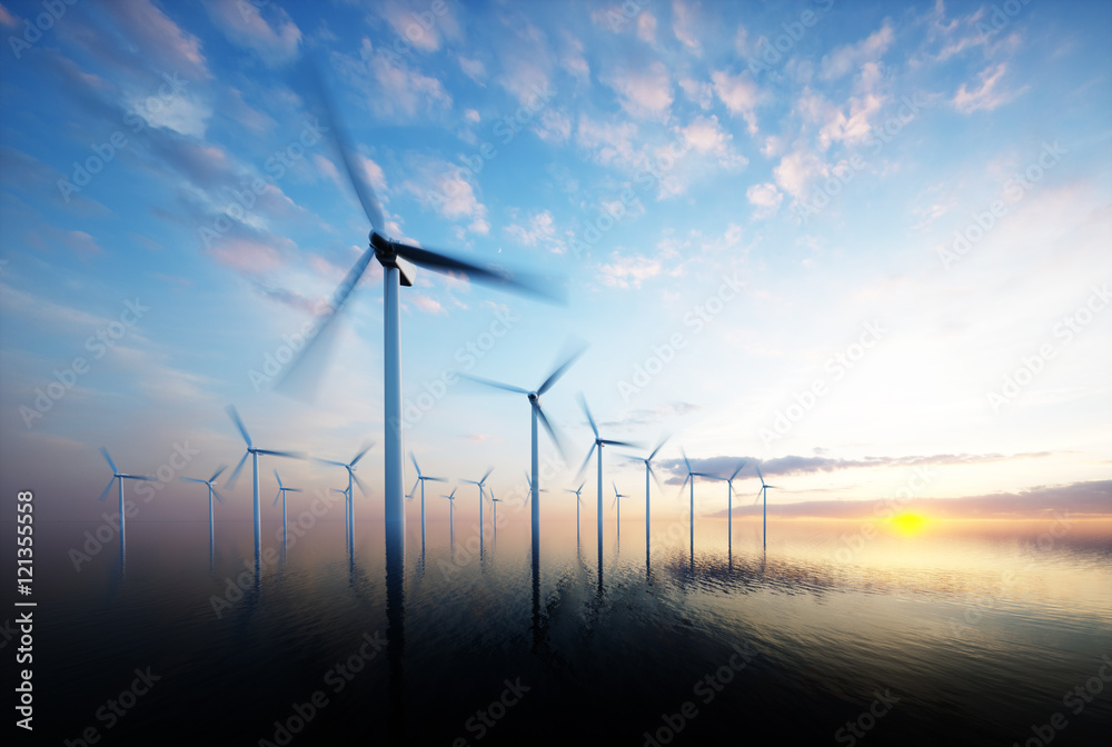Fototapety, obrazy: Offshore wind park at daybreak