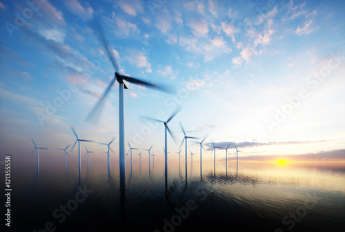 Fotografia  Offshore wind park at daybreak