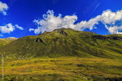 Foto op Plexiglas Donkerblauw wonderful landscape in the Alps, Switzerland
