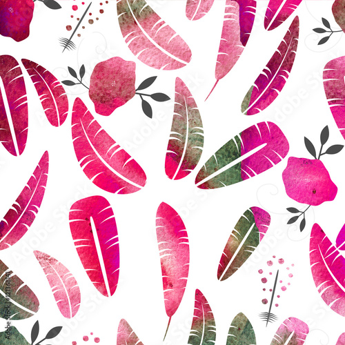 Cotton fabric Watercolor seamless pattern. Feathers and roses.