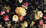 yellow peony and pink daisy design on black fabric - 121370343